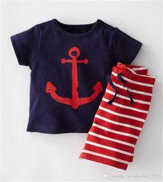 8ac5b2a1e 2019 Baby Clothes Boys Cartoon Anchor Fish Striped Casual Suits Sailboat  Sets T Shirt+Pants