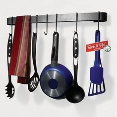 """Enclume MPU-13 RACK IT UP Utensil Bar Pot Rack, with 8 Hooks by Enclume. $24.99. Excellent low-cost companion to all other RACK IT UP pot racks; strong steel construction yet light weight (just 3 pounds); will hold 100 pounds. Quick and easy assembly; no handyman required; assemble in minutes; all hardware included. Add decorative style; attractive """"hammered steel"""" powder coat finish; paintable to complement any decor. Quality steel pot rack with 8 hooks; store pots and utensils ..."""