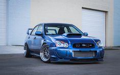 Download Wallpapers Subaru Impreza WRX STI, Tuning, Stance, Blue Impreza,  Japanese Cars