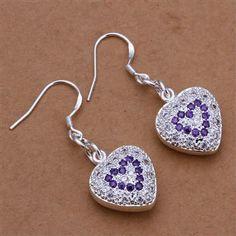 Romantic Women 925 Sterling Silver Heart Shaped Drop Earrings