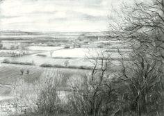 View on Zyfflich from Devil's mountain - 04-04-15 (Gezicht op Zyfflich vanaf de Duivelsberg) (sold) Graphite on Canson Bristol paper (29.7 x 21 cm) (for sale / te koop) see more: www.corneakkers.com #arts #kunst #Corné #Corne #Akkers