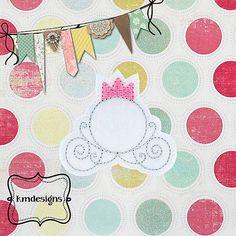 Bottle cap Princess Carriage feltie ITH Embroidery design file