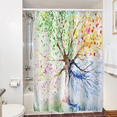 Colorful Tree Four Seasons Polyester Waterproof Shower Curtain Bathroom Decor