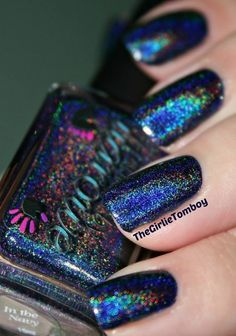 Colors by Llarowe:  ☆ In the Navy ☆ ... a navy blue holographic nail polish