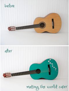 Bling out an acoustic guitar | DIY Glitter Guitar from Making The World Cuter