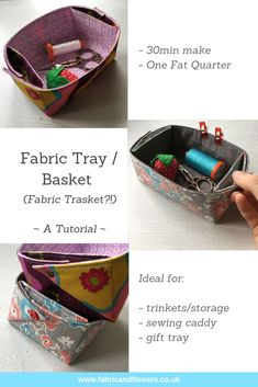 Tutorial for sewing an easy fabric basket tray (a trasket!) with handles in 30 minutes. Ideal quick gift, sewing caddy or for storage and organisation! Fat Quarters, Sewing Caddy, Fat Quarter Projects, Basket Tray, Fabric Basket, Sewing Accessories, Lining Fabric, Sewing For Beginners, Fabric Flowers