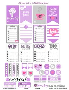 Free Moms Day Planner Stickers | Vintage Glam Studio