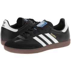 adidas Originals Samba Leather (Black/White) Classic Shoes ($70) ❤ liked on Polyvore featuring shoes, sneakers, adidas originals, white black shoes, traction shoes, leather upper shoes and black white shoes