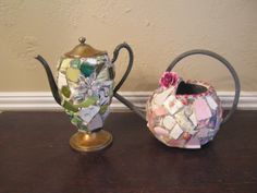 Mosaic teapot and watering can.  Ready for Spring!