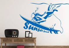Wall Decals - Surfing Girl Wall Decal - Beautiful Sports Vinyl Art