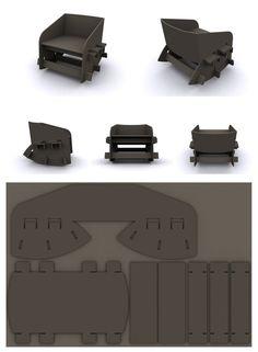 Cardboard Rocking Chair by Brandon Liew, via Behance