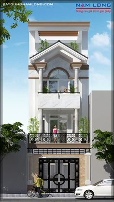 mẫu thiết kế nhà phố đẹp hiện đại quận 7 Building Elevation, House Elevation, Indian House Plans, Front Elevation Designs, House Map, Narrow House, Street House, Indian Homes, Modern House Design