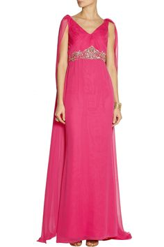 Notte by MarchesaCape-back embellished silk-chiffon gownfront