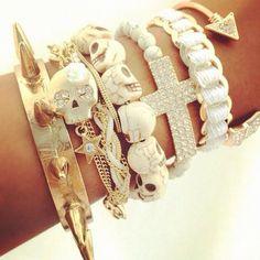 gold n white  bracelets