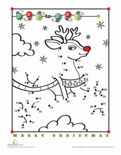 Christmas First Grade Dot-to-Dots Worksheets: Rudolph Dot-to-Dot