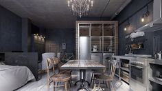 A small 40 square meter apartment packed with style. The interior design beautifully blends old and new.