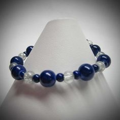 Cobalt Blue and Clear Cracked Glass Beaded by LadyBirdJewelry, $16.00