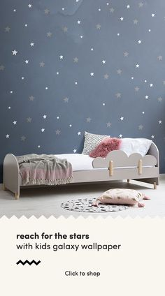 Reach for the stars with this exciting space kids wallpaper mural, inspired by the mysteries and beauty of the universe we live in. The space theme that the wallpaper has been designed in creates a wo Boy Girl Room, Baby Boy Rooms, Child Room, Kids Room Wallpaper, Of Wallpaper, Trendy Wallpaper, Pattern Wallpaper, Star Bedroom, Kids Bedroom