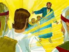 Peter, James and John woke up and saw the glory of Jesus and the two men standing with Him. They were frightened and Peter blurted out, 'Let's make three shelters for Jesus, Moses and Elijah. Free Stories, Bible Stories, Free Bible Images, Luke 9, Matthew 17, Bible Activities, Christian Faith, Photo Illustration, Sunday School