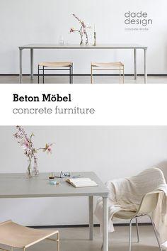 Wie ein Monolith wirkt der repräsentative Tisch CONCRETE TABLE von Nina Mair aus #Gussbeton. Die großzügige Tafel überspannt 2,20 Meter und besticht durch elegante Formgebung und eine seidige Oberfläche. Elegant, Designer, Product Design, Shelf, Classy, Chic