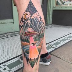 Ufo Tattoo on Calf by Meg Felix