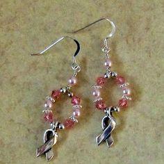 Breast Cancer Awareness Earrings Swarovski by GlassMystique, $20.00
