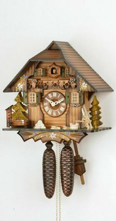 Amazon.com - German Cuckoo Clock 8-day-movement Chalet-Style 13 inch - Authentic black forest cuckoo clock by Hekas - Wall Clock