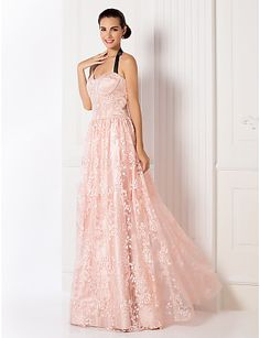 Homecoming Formal Evening/Prom/Military Ball Dress - Pearl Pink Plus Sizes A-line Halter Floor-length Lace – GBP £ 145.99