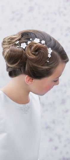 Boho Communion Hair Vine - Emmerling 77415 - White Daisy Flowers Hair Wire for First Communion Hairstyles - Floral White Flowers Pearls and Crystals