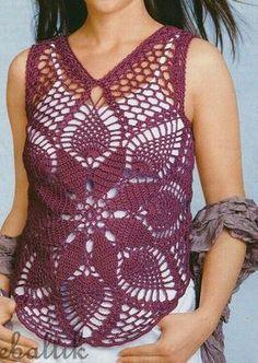 Crochet Shirt Crochet Pineapple Crochet Pullover Top Motif by SassyloveCrochet - ♥´¨) ¸. Crochet Woman, Love Crochet, Beautiful Crochet, Knit Crochet, Crochet Bodycon Dresses, Black Crochet Dress, Pineapple Crochet, Pineapple Pattern, Pineapple Top