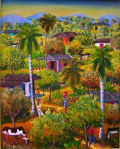 Haitian Primitive Painting by Ossey Dubic original oil on canvas rural scene www.naderhaitianart.com