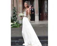 Aoife Cogan's Wedding Dress by Amanda Wakely, Look 04/10 from the Amanda Wakely Rahjastan line, a silk georgette halterneck wedding dress with Cleopatra beading detail.
