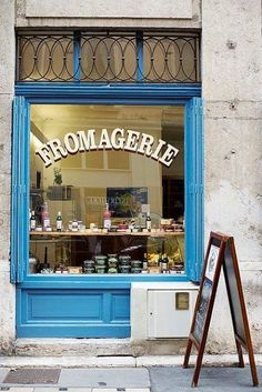 Fromagerie in Lyon, France. The leaded window, the beautiful French blue, the hand-painted window lettering, lovely! Lyon France, Provence France, Paris France, Lokal, Shop Fronts, Shop Around, French Blue, French Kiss, Rhone