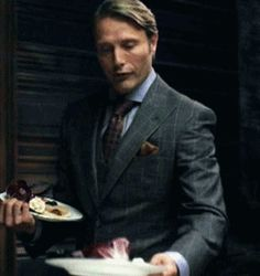 Mads Mikkelsen / Hannibal. Hahaha his smile is so cuuute xD
