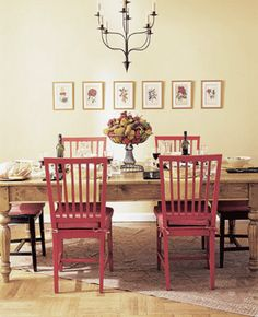 Target Carlisle dining chairs and an old door turned dining room