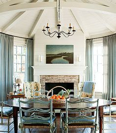 "A pinnacle of the home's shiplap-clad design, the keeping room is Chris and Tom's favorite spot to enjoy morning coffee. ""The fireplace gives it a hearth-and-home feeling,"" interior designer Tammy Connor says. Soothing, Elegant Vacation Home Interior Design Courses Online, Keeping Room, Best Interior, Interior Colors, Traditional House, Beautiful Homes, Beautiful Interiors, Beautiful Places, House Design"