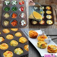 Omelet Muffins Simply spray the muffin pan, add in your favorite omelet fixings and cover with egg beaters or egg whites. Bake at 350 for about 30 minutes. Options to try: spinach and feta, salsa and cheddar.chicken and hot sauce.tomatoes and peppers. Egg Muffins, Breakfast Muffins, Breakfast Recipes, Omelette Muffins, Breakfast Ideas, Nice Breakfast, Breakfast Healthy, Mini Muffins, Breakfast Casserole