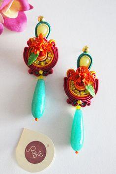 Soutache Earrings bohemian  flower earrings Handmade