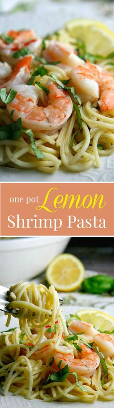One Pot 15 min Lemon Shrimp Pasta recipe with a delicious cream sauce...perfect dinner recipe for busy families!
