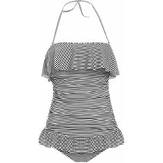 Vintage Halterneck Ruffles Stripe One Piece Women's Swimsuit (59 PEN) ❤ liked on Polyvore featuring swimwear, one-piece swimsuits, swim suits, 1 piece swimsuit, vintage bathing suits, halter one piece swimsuit and halter swimsuit