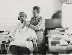 Prep work: Monte Westwore applies makeup to Leslie Howard, who plays Ashley Wilkes, before a shoot
