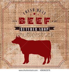 Beef butcher shop vintage emblem, meat products template retro style. Cow butchery label on grunge burlap background vector