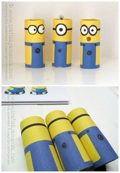 22 DIY Minions recycle projects for creative kids - Craftionary Easy Crafts For Kids, Craft Activities For Kids, Diy For Kids, Hobbies For Kids, Cheap Hobbies, Minions, Rainy Day Crafts, Toilet Paper Roll Crafts, Business For Kids