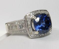 SUPREME 3.48ct Ceylon Sapphire & Diamond Ring from divinefind on Ruby Lane