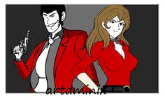 lupin  e margot #coppia #love #sexy #comic #fumetti #handmade #art #paint #modern #gun