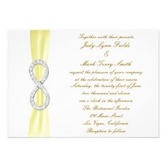 Yellow Diamond Infinity Wedding Invitation  Personalize this invitation to make it your own. Change font style, color and size as well as background color and paper type by using the customize it button. http://www.zazzle.com/yellow_diamond_infinity_wedding_invitation-161434964106803831?rf=238271513374472230  #wedding