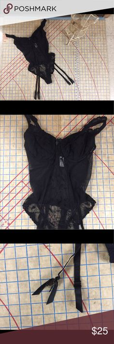 1990s Victoria's Secret teddy with garters 36C In excellent condition 1990s black stretch lace teddy with removable garters. Beautiful piece of lingerie with metal hardware and snaps. Quality. Bra has underwire and is lightly lined. Panty portion is a thong. Very sexy! Lotsa stretch to the lace. Not sure what to measurements to take so let me know. Victoria's Secret Intimates & Sleepwear