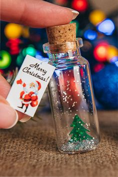 Merry Christmas greeting card unusual gift for women Tiny Christmas tree in a bottle Christmas gift girlfriend boyfriend For coworker