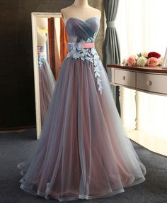 Beautiful Sweetheart Tulle Long Junior Prom Dress with Flowers Belt, Charming Party Dress, Long Evening Gowns