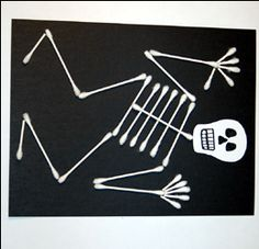 Q-tips skeleton kids craft